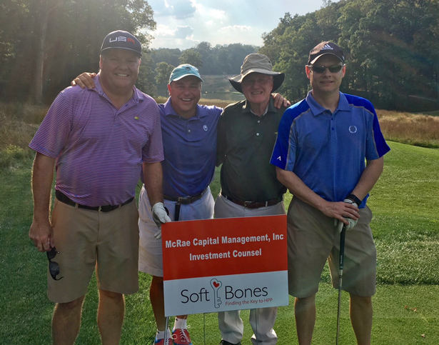 From Left to Right, Roddy McRae, Michael Gang, Rod McRae, and Kevin McRae at the 2017 Soft Bones fundraiser at Somerset Hills Country Club